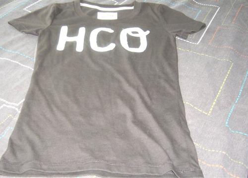 playera cafe hollister cuello redondo logo hco