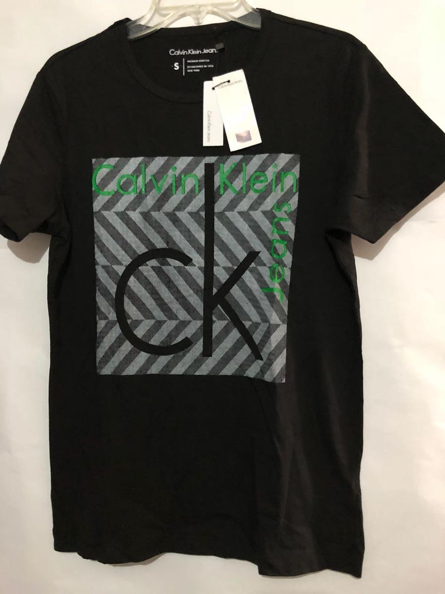 fa0948d6a5151 Playera Calvin Klein Jeans Negro Con Verde -   399.00 en Mercado Libre
