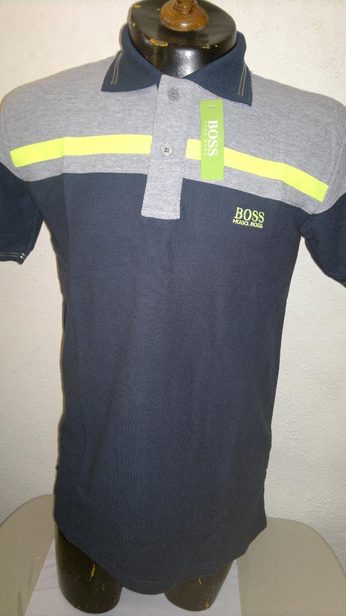 Playera camisa tipo polo azul marino con gris hugo boss cargando zoom jpg  674x1200 Camisas tipo cb84a9d0f4c