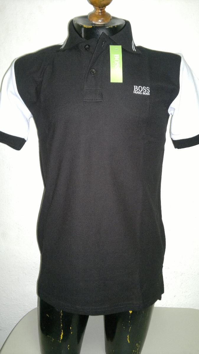 5c3941a930850 playera camisa tipo polo hugo boss color negro con blanco. Cargando zoom.