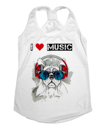 playera de mujer estampada - i love music