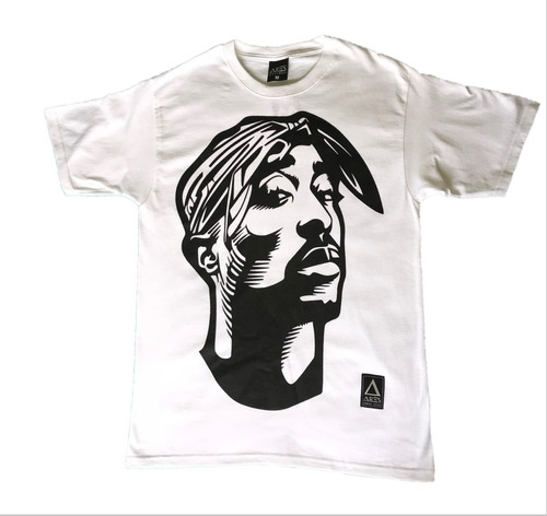 playera estampada imagen tupac color negro y blanco caballer