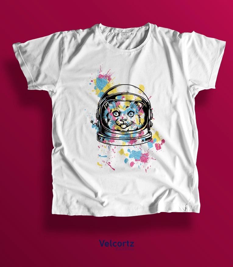9e0dc63296449 Playera Gato Astronauta Hombre Sublimación -   145.00 en Mercado Libre