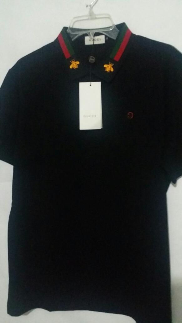 7eb9b02b7b6b2 Playera Gucci Abeja Dorada Negro Polo Camiseta -   569.00 en Mercado ...