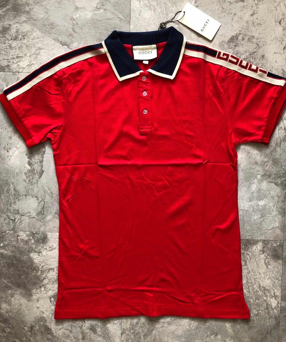 67135af06cce5 Playera Gucci Roja Tipo Polo Con Tribanda