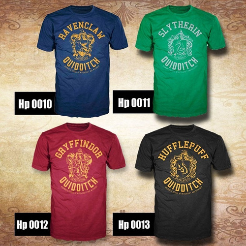 playera harry potter -casas de hogwarts- diseños disponibles