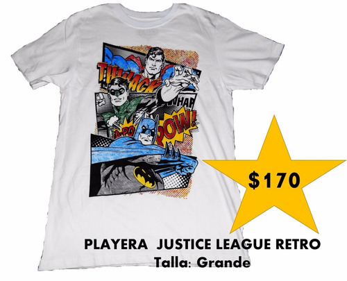 playera justice league of america retro blanca