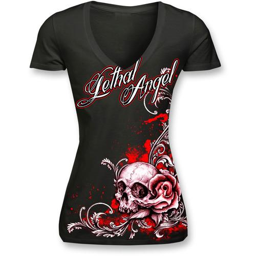 playera lethal threat floral skull mujer escote v negro lg