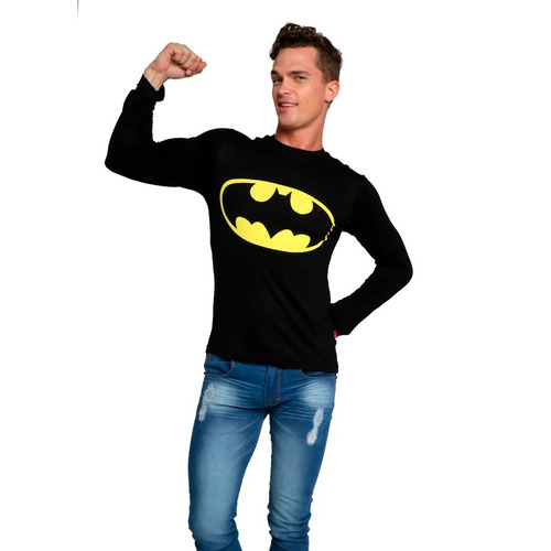 playera logo batman manga larga slim caballero