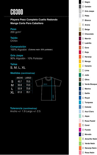 playera manga corta - 100% algodón + 30 colores / yazbek