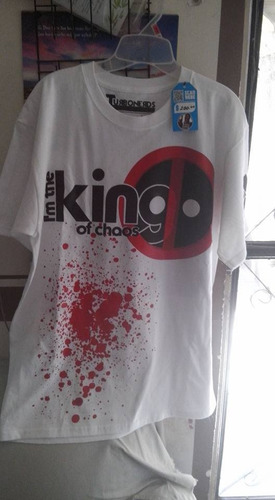 playera manga corta deadpool blanca
