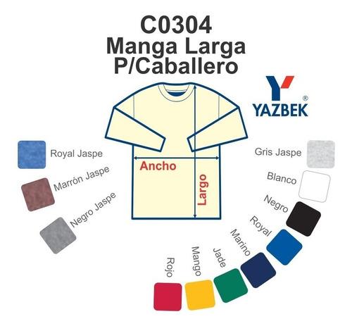 playera manga larga 100% algodón, dama y caballero yazbek