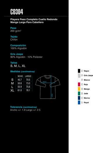 playera manga larga - 100% algodón / yazbek