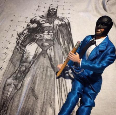 playera mascara de latex batman sketch