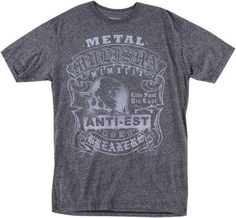playera metal mulisha mock hombre manga corta gris carbón md