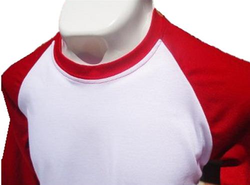playera moda raglan juvenil bicolor mangas 3/4 100% algodón