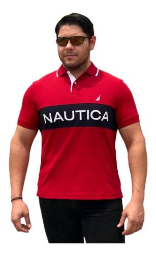 playera nautica tipo polo rojo bordado logo 100% original