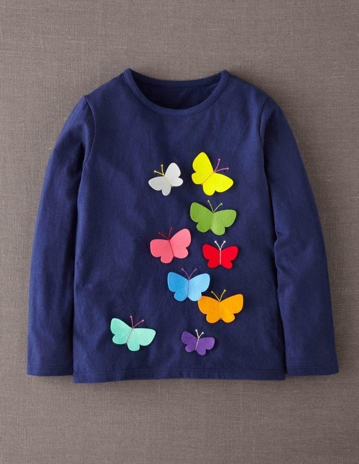playera niñas moda aplicaciones bordadas de colores mariposa. Cargando zoom. 9290b59fd1383