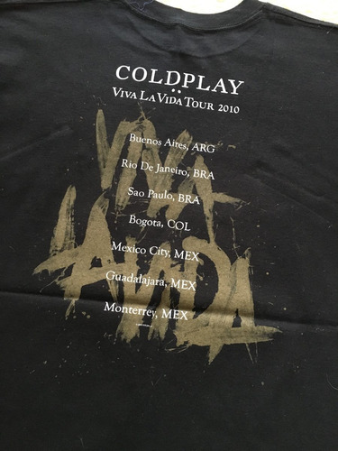 playera oficial coldplay tour viva la vida