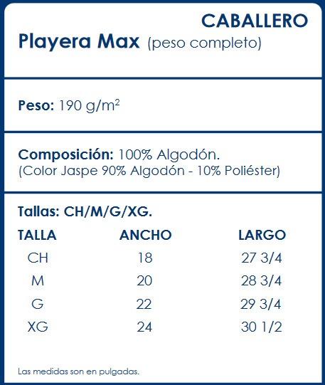 Playera Optima Caballero Cuello Redondo Max 100% Algodón -   59.00 ... 50d7fbb11a7fa