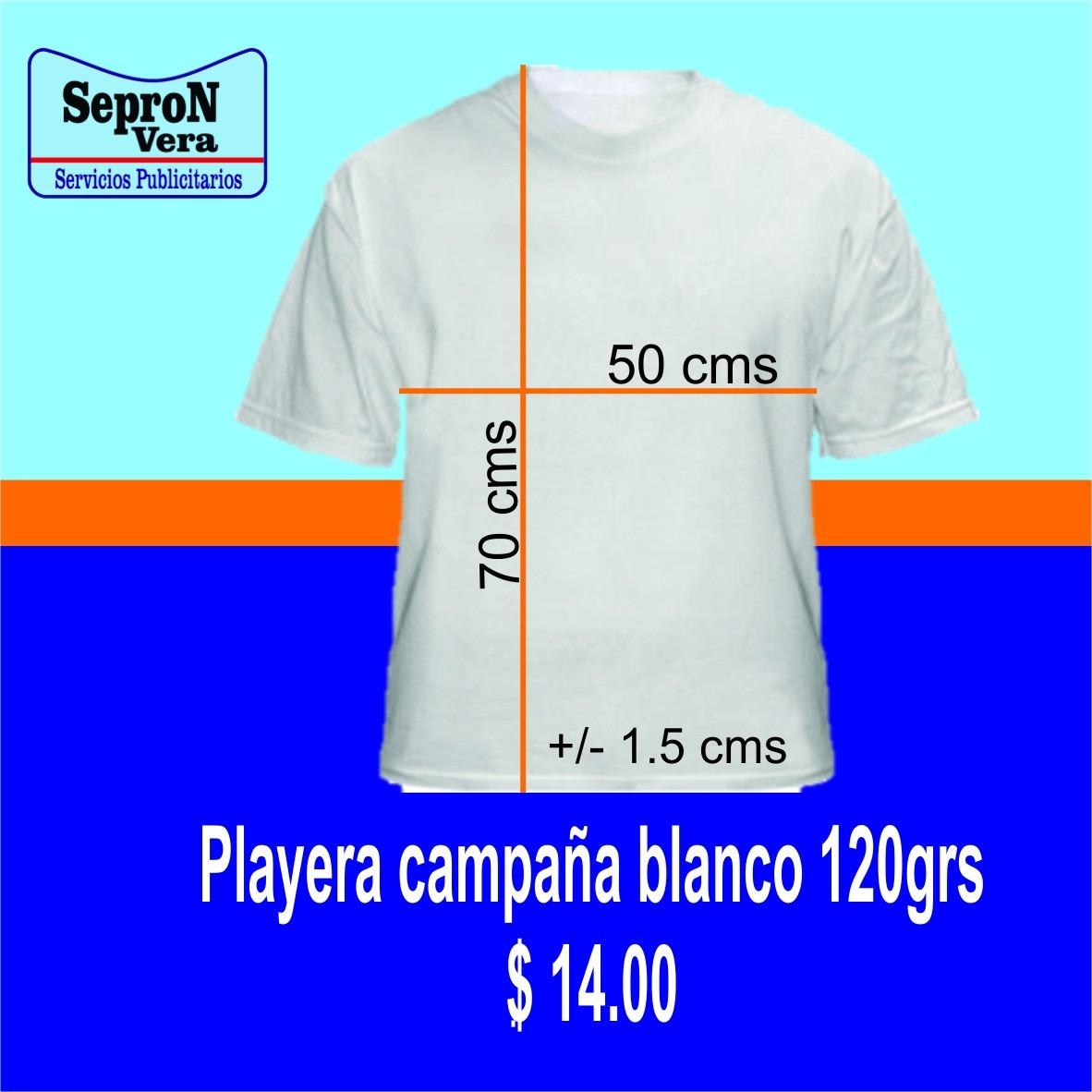 Playera Para Campaña Política 120grs. Color Blanco -   17.50 en ... 108512dd85958