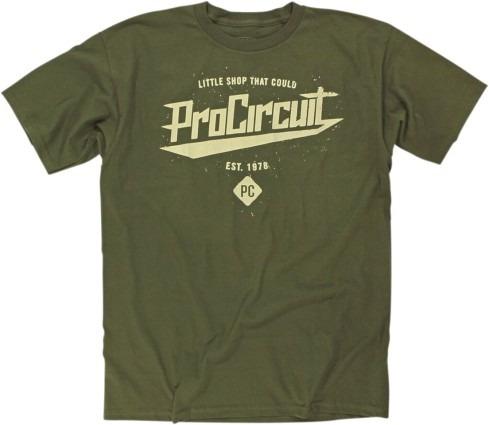 playera pro circuit little shop hombre m. corta verde md
