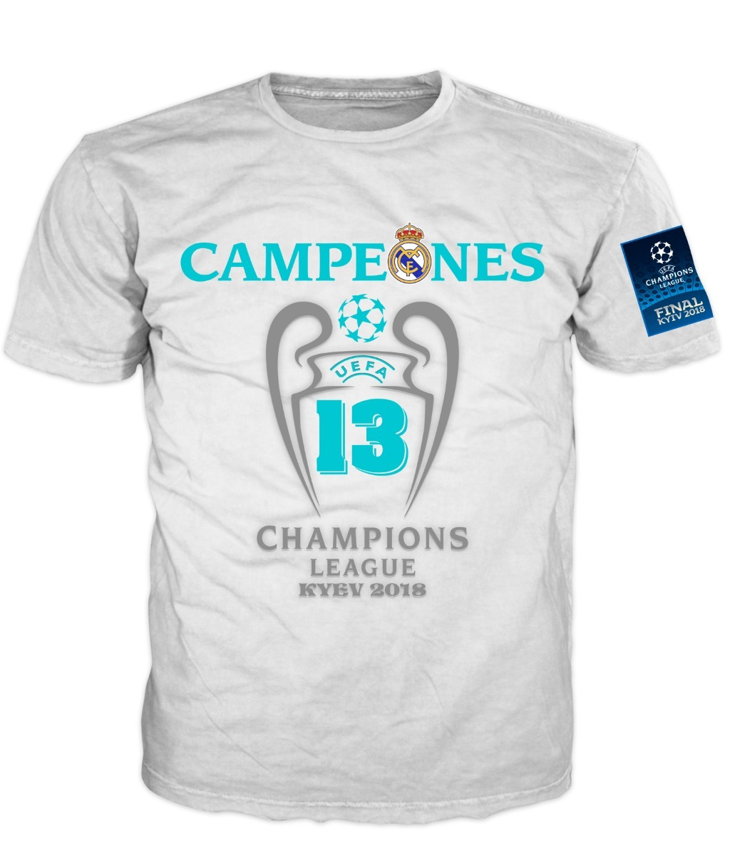 Playera Real Madrid Campeon Champions League 2018 Blanca -   300.00 ... 946f57c3ab6ba