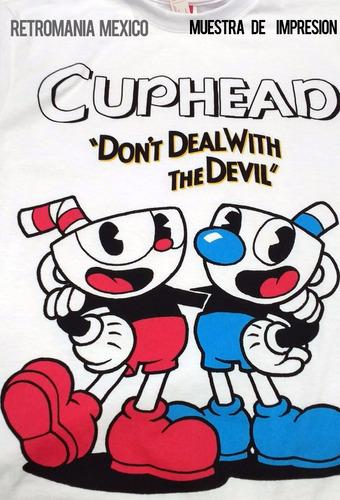 playera retromania cuphead and mugman devil poster $220