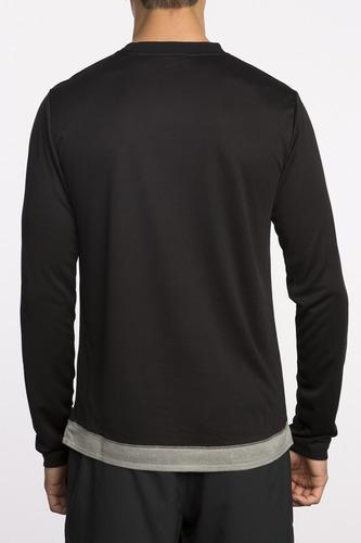 playera rvca, mod. runner mesh  ls shirt, color blk.