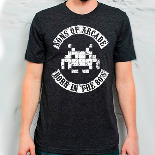 playera sons of arcade born in the 80s space invaders