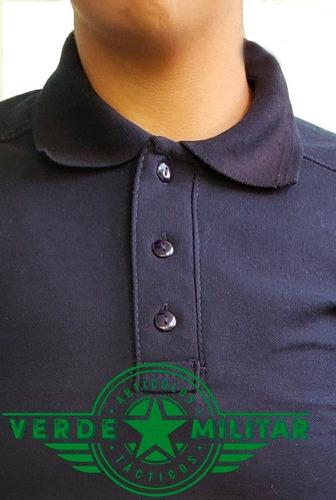 7a5b85ac1374d Playera Tactica Polo Negra Camisa Deportiva Uniforme Parches ...