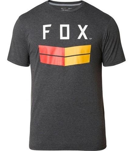 playera tech fox frontier ss negro/heather casual