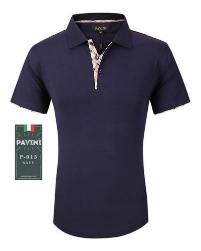 playera tipo polo de caballero marca pavini azul p915 original importada usa envio gratis meses sin interes y garantia