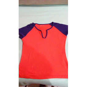 b0ba28bf732 Playera Camiseta Para Dama. Talla Mediana. Naranja Y Azul