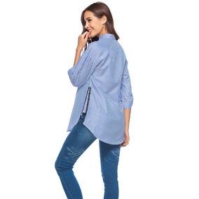 0547076ee3e29 Moda Mujeres A Rayas Blusa Camisa Lado División Tres Trimes