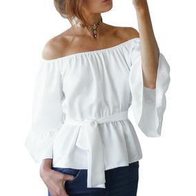 47a985505624b Nuevo Sexy Mujeres Gasa Apagado Hombro Blusa Camisa Ceñido