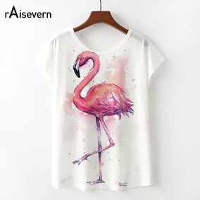 b55ebc53855c3 Raisevern Nuevo Kawaii Flamingo T Shirt Mujeres Verano Lindo