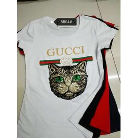 b53f91b84260b Playera Gucci Clon Manga Corta Mujer Guerrero Talla Xl - Playeras XL  Estampado en Mercado Libre México