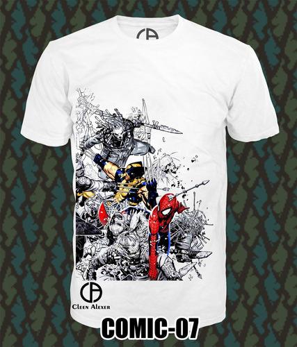 playeras comics marvel super heroes superman joker spiderman