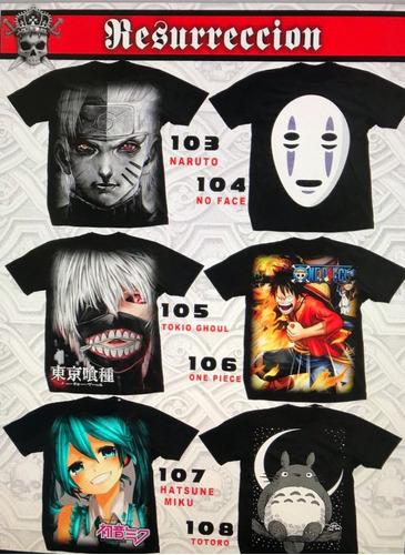 playeras de hatsune miku,goku, mazinger,sin cara tokyo ghoul
