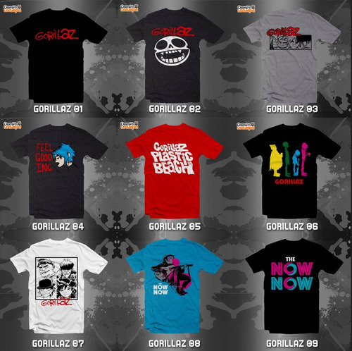playeras gorillaz - 18 modelos disponibles