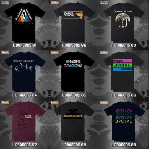 playeras imagine dragons - 9 modelos disponibles con envío