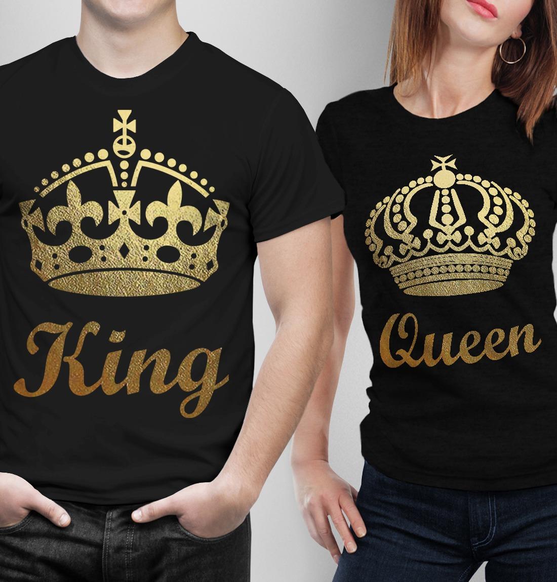 foto de Playeras King Queen Novios Parejas Estampado De Coronas