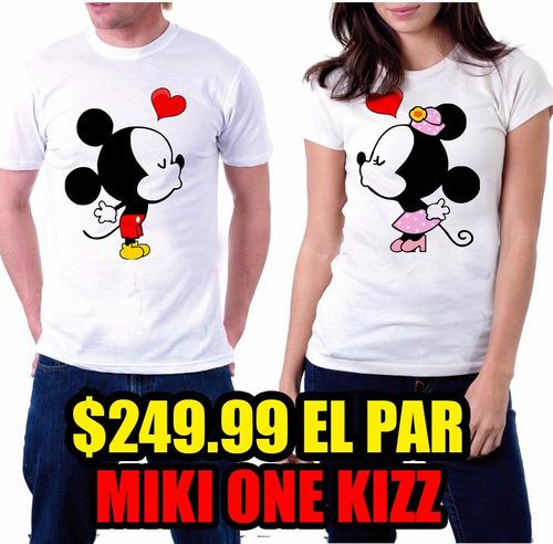 playeras pareja  para novios perzonalizadas¡¡¡ miki y minnie