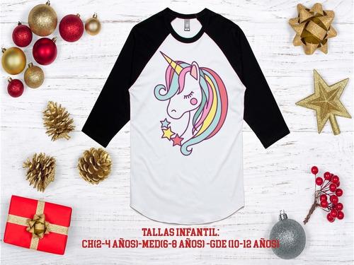 playeras ranglan, unicornio, navidad niñas (os) mod 21