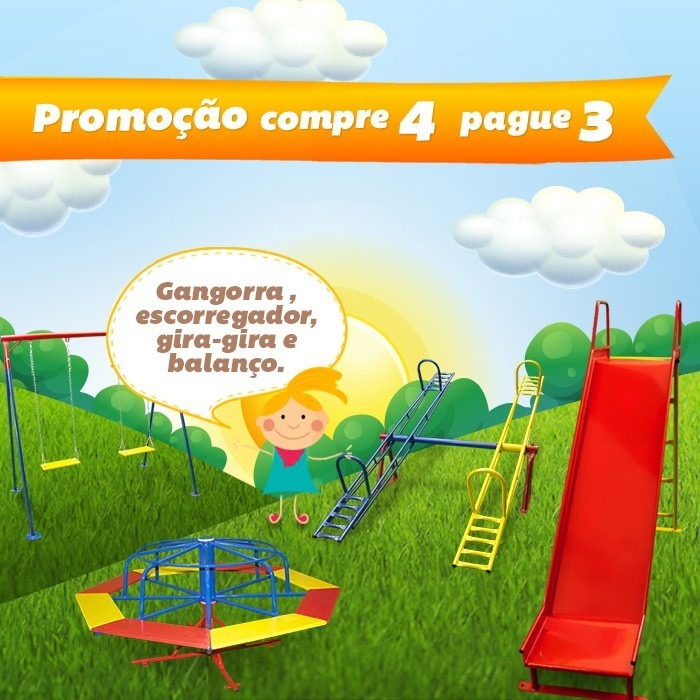 dc191385eb9 Playground De Ferro - Escorregador, Gangorra, Balanço E Gira