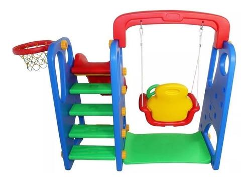 playground infantil 3x1 escorregador balanço e cesta inmetro