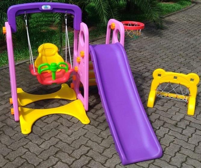 f2fefcb3051 Playground Infantil 4 Em 1 Rosa Balanço Escorregador Gol - R  1.169 ...