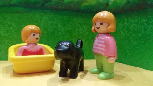 playmobil 1 2 3 niña y bebe con perro negro ciudad js b
