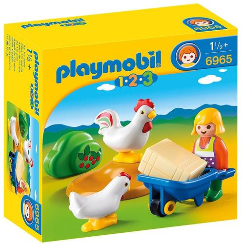 playmobil 1.2.3. granjera con gallinas y carreta 6965